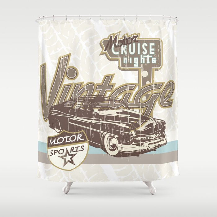 Vintage Car Shower Curtain