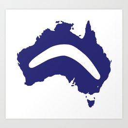 Australia Silhouette With Boomerang Art Print