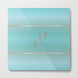 Rose Gold Feather Turquoise Metal Print