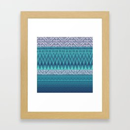 crochet mixed with lace in teal Framed Art Print