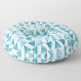 Mid Century Modern Art Geometric Pattern of Teal Blue Triangles Floor Pillow