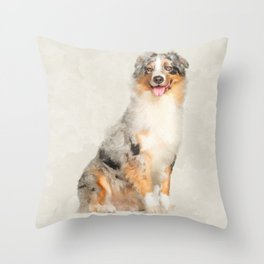 Australian Shepherd - Blue Merle Watercolor Digital Art Throw Pillow