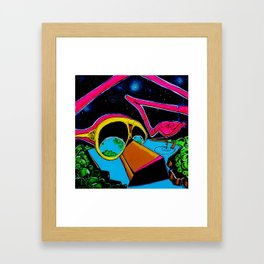 flamingo in space Framed Art Print