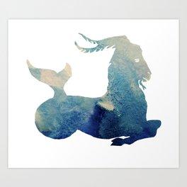 Watercolor Capricorn Sign Art Print