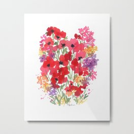 Little Red Poppy Patch Metal Print