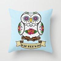 hedwig Throw Pillows featuring Hedwig Sugar Skull by Artpunk101