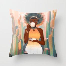 Cacti Tea Throw Pillow