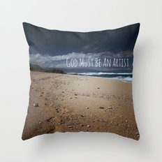 God Must Be An Artist Throw Pillow