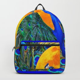 FULL GOLDEN MOON BLUE PEACOCK  FANTASY ART Backpack