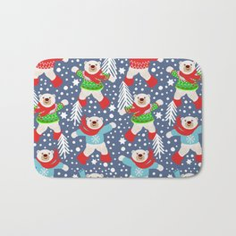 Polar Bears Dancing in the Snow, playing snowballs Bath Mat