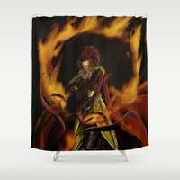 archer Shower Curtains featuring Fire Archer by Camisha Kelley