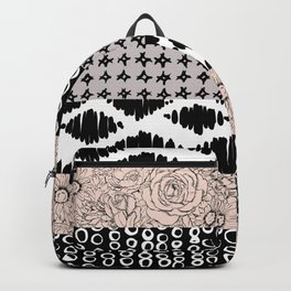 Vertical Stripe Patchwork Pattern Backpack