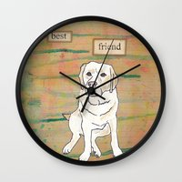 best friend Wall Clocks featuring Best Friend  by Tammy Kushnir