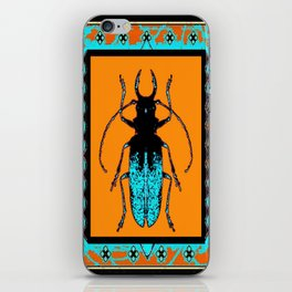 Black Turquoise Stag horn Beetle Western Art Abstract iPhone Skin
