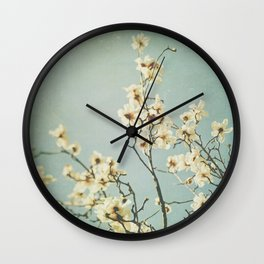 Magnolia blossoms. Mint Wall Clock