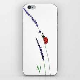 red ladybug and purple lavender iPhone Skin