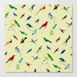 Yellow Birds Motif Canvas Print