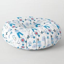 Wellness Health Medical Symbols Doctors and  Nurse Floor Pillow