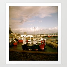 Boats Bobbing in the Blue of the Bay Art Print