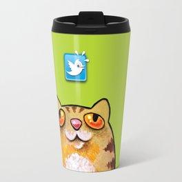 Cat love twitter bir green Travel Mug