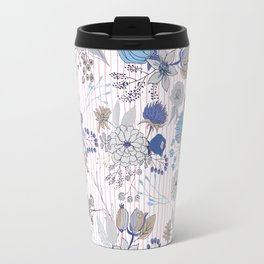 Abstract rustic navy blue gray floral pink stripes pattern Travel Mug