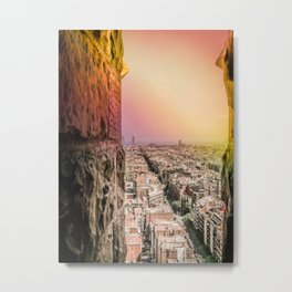 Colorful Rainbow View from Sagrada Familia over the Old City of Barcelona Metal Print