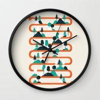 stripes Wall Clocks featuring Foxy stripes by Robert Farkas