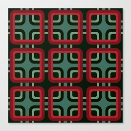 Geometric Pattern #69 (red & turquoise 1970s) Canvas Print