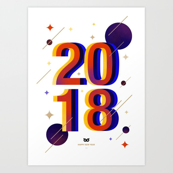 2018 (White Edition) Art Print