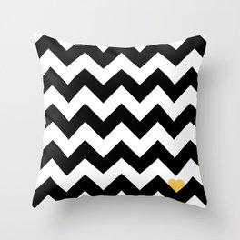 Heart & Chevron - Black/Yellow Throw Pillow