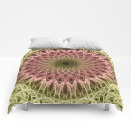 Detailed mandala in gold and red ones Comforters