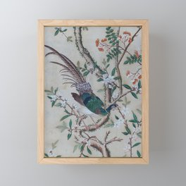 Antique Chinoiserie with Bird Framed Mini Art Print