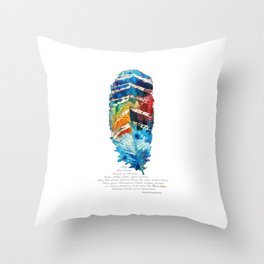 Colorful Feather Art -  Blessing - By Sharon Cummings Throw Pillow