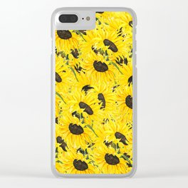 sunflower pattern 2018 1 Clear iPhone Case