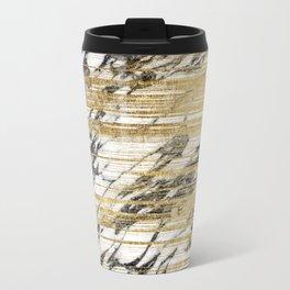 Chic Gold Brushstrokes on Black White Marble Travel Mug