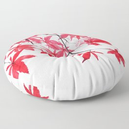 red maple leaves watercolor painting Floor Pillow