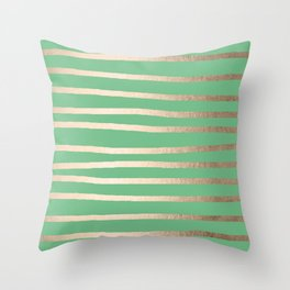 Abstract Drawn Stripes Gold Tropical Green Throw Pillow