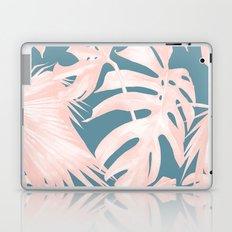 Palm Leaves Pink Coral on Deep Ocean Blue Laptop & iPad Skin