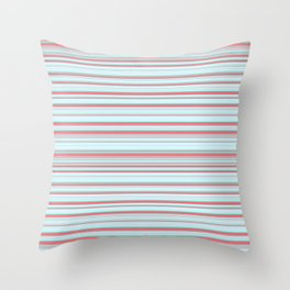 Sky Blue Red Candy Lines Throw Pillow
