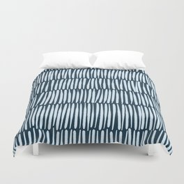 Inspired by Nature | Organic Line Texture Dark Blue Elegant Minimal Simple Duvet Cover