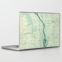 portland Laptop & iPad Skins featuring Portland Map Blue Vintage by City Art Posters