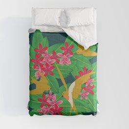 Pink Flying Frangipani  Comforters
