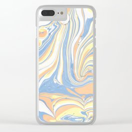 Blush yellow orange blue abstract watercolor marble Clear iPhone Case