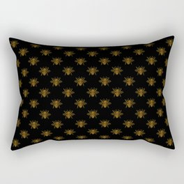 Foil Bees on Black Gold Metallic Faux Foil Photo-Effect Bees Rectangular Pillow
