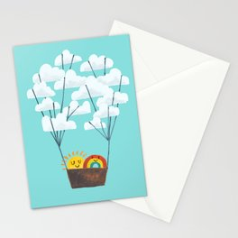 Hot cloud balloon - sun and rainbow Stationery Cards