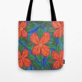 Luau Flower Print Tote Bag