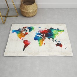 World Map 19 - Colorful Art By Sharon Cumming Rug