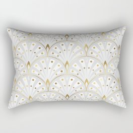 marble and gold art deco scales pattern Rectangular Pillow