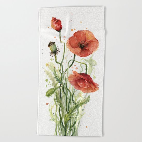 Red Poppies Watercolor Flower Floral Art Beach Towel