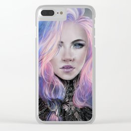 Ambrosial - Futuristic sci-fi girl with pink hair portrait Clear iPhone Case